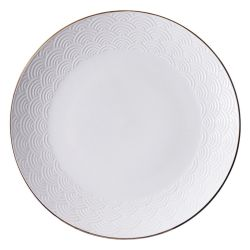 Japanese round plate in white ceramic, SEIGAIHA, waves