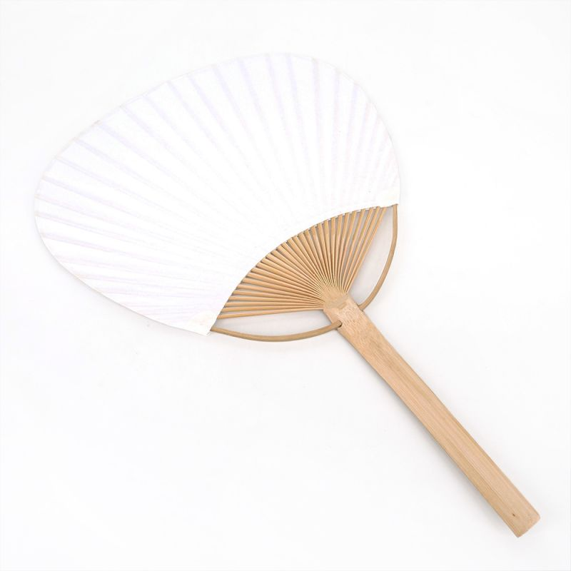 Japanese uchiwa fan in paper and bamboo, SHIRO