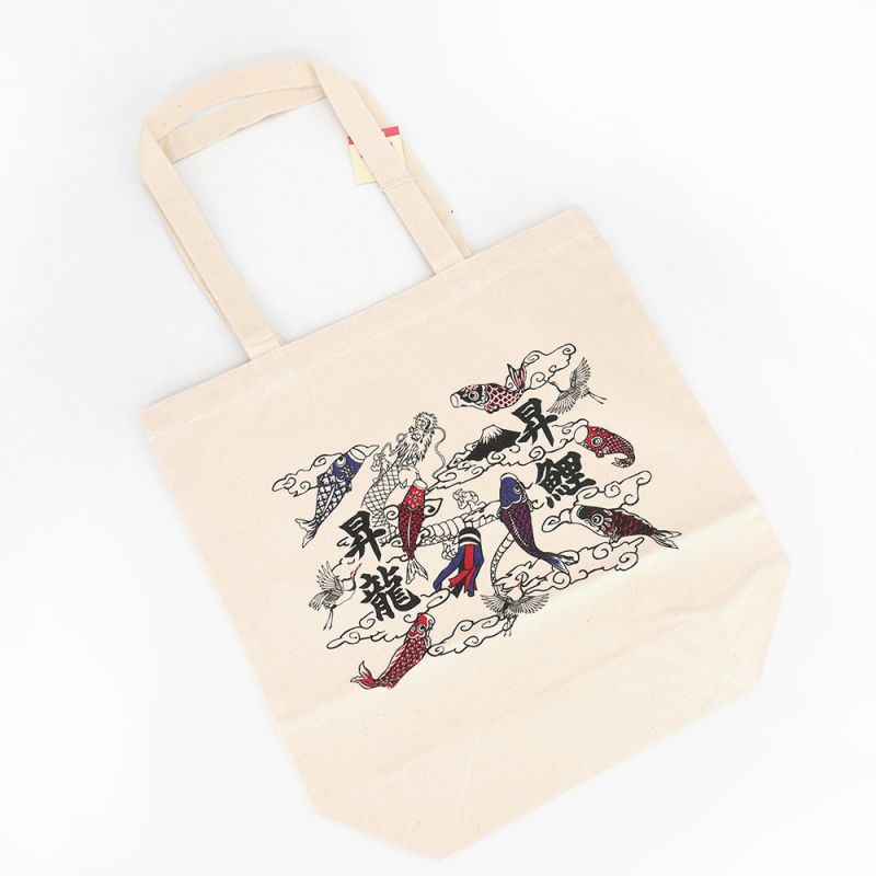 japanese bag, tote bag 100% cotton, CANVA BAG, carps and clouds