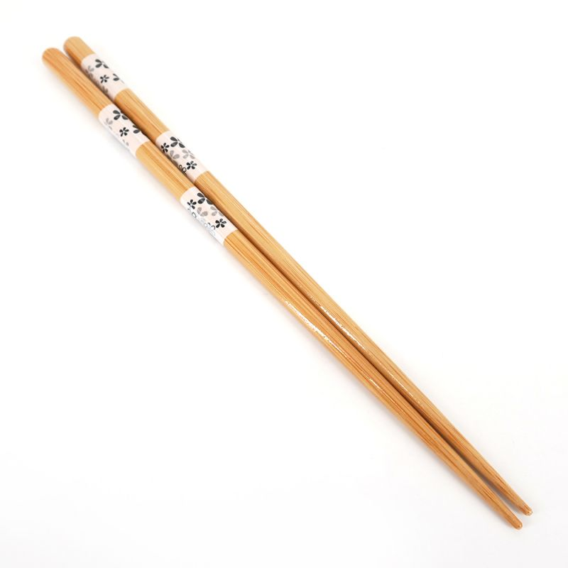 Pair of Japanese chopsticks, white with flower patterns - TANAKA HASHITEN