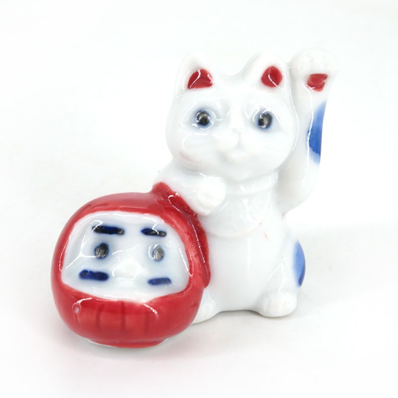 Japanese ceramic chopsticks rest - NEKO TO DARUMA