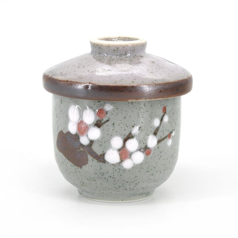 Japanese ceramic mug with lid - HAIRO NO KABA - gray