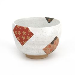 White Japanese tea cup with red flower patterns - AKA HANA