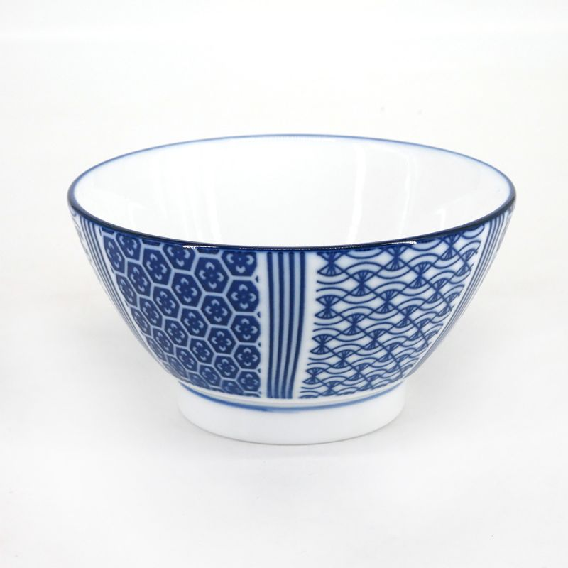 Japanese bowl in white and blue ceramic - KURIKAESHI