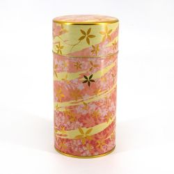 Japanese metal tea box, HANA ASOBI, pink