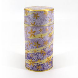 Japanese metal tea box, HANA ASOBI, purple