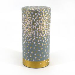 Japanese washi tea canister, HANAZONO, gray