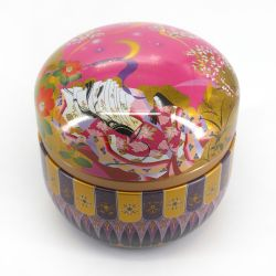 Japanese metal tea box, SUZUKO HITOE, pink