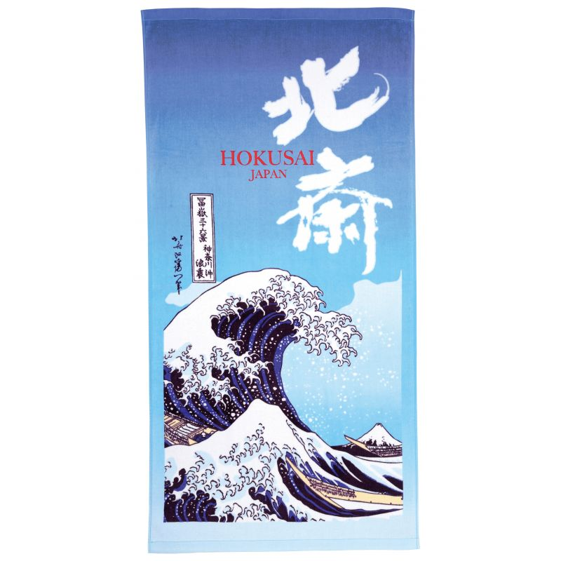 Large Japanese cotton bath towel, THE GREAT WAVE OFF, the great wave