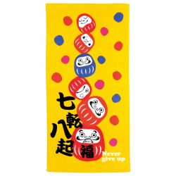 Serviette de bain en coton japonais, NEVER GIVE UP, Daruma
