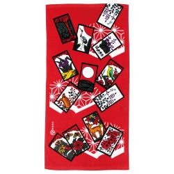 Japanese cotton bath towel, HANAFUDA, the flower game