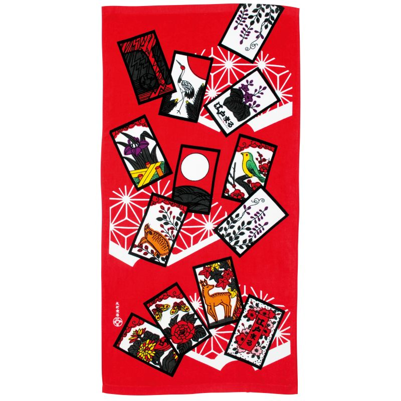 Large Japanese cotton bath towel, HANAFUDA, the flower game
