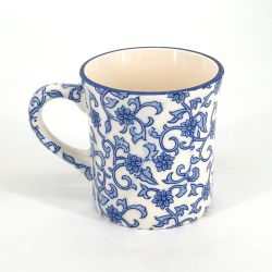 Japanese ceramic tea mug - KARAKUSA AO