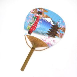 japanese non-folding fan uchiwa GEISHA, blue