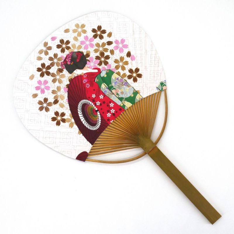 japanese non-folding fan uchiwa, GEISHA SAKURA
