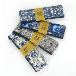 Japanese blue pencil case - random pattern - AOI FUDEIRE