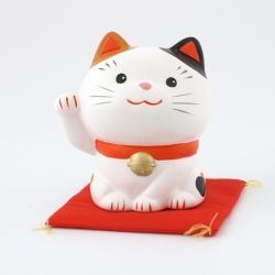 Gatto fortunato manekineko in ceramica giapponese - MIKE MIGI -