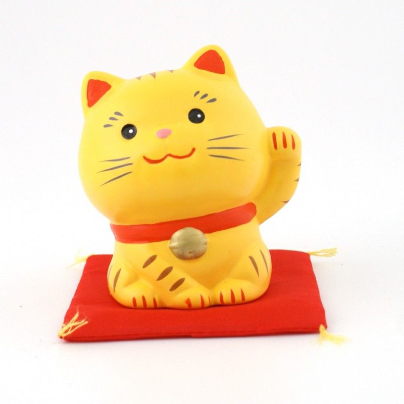 Japanese ceramic manekineko lucky cat - TORA HIDARI -