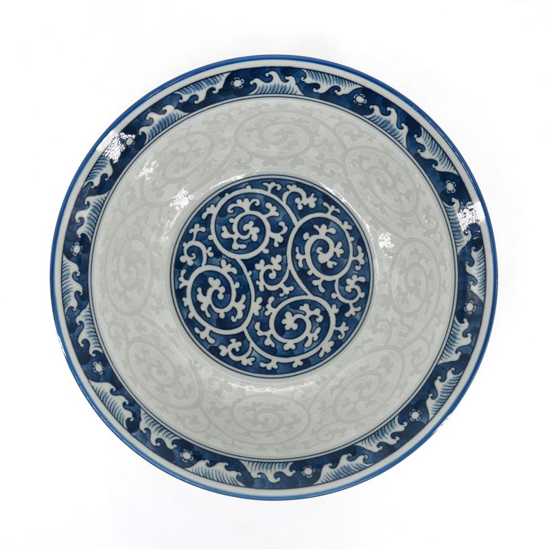 White and blue japanese ramen bowl with karakusa pattern - AO NO KARAKUSA