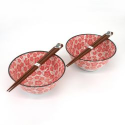 Set of 2 Japanese ceramic bowls - AKA UME