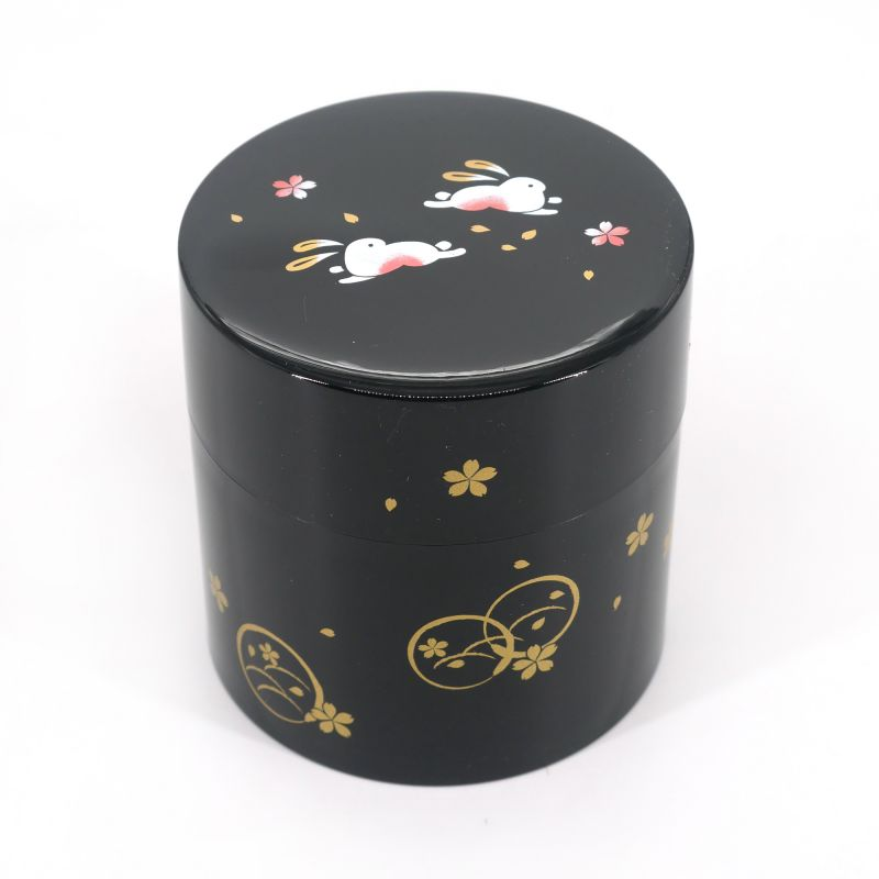 Japanese resin tea caddy, MARUUSAGI, black