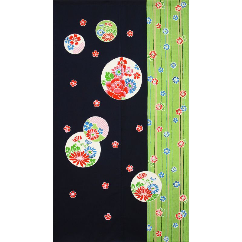 Japanese cotton Noren curtain, HANA