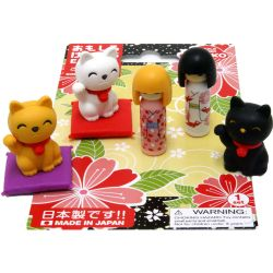 Eraser set IWAKO - DOLL & LUCKY CAT