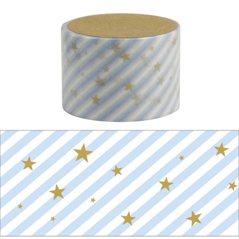 Masking Tape - STARRY BLU STRIPE WASHI TAPE - Blue star stripes