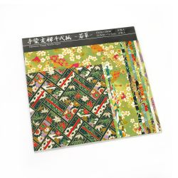Set of 12 green Japanese square sheets - YUZEN WASHI PAPER