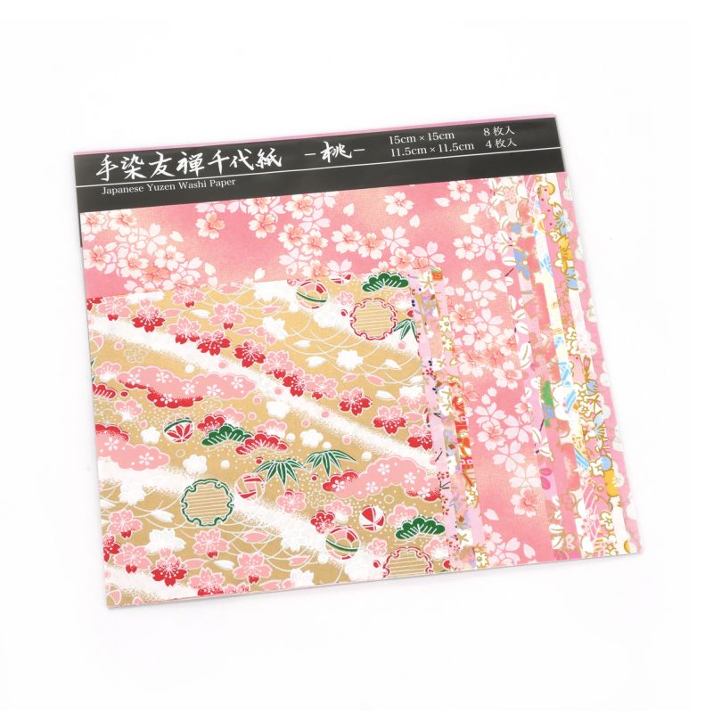 Set of 12 pink Japanese square sheets - YUZEN WASHI PAPER