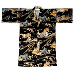 Happi black Japanese cotton kimono for men with dragon patterns - KINRYU