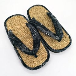 Pair of Japanese zori sandals in seagrass, MANDARA, blue