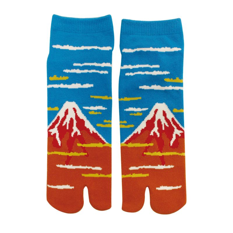 Japanese cotton tabi socks, RED FUJI