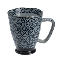 Japanese blue and gray ceramic mug - KARAKUSA