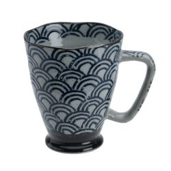 Japanese blue and gray ceramic mug - SEIGAIHA