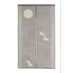 japanese purple cotton noren curtain moon and rabbits TSUKIMI USAGI