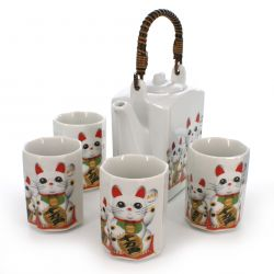 Japanese tea set - 1 teapot and 4 cups, NEKO, manekineko