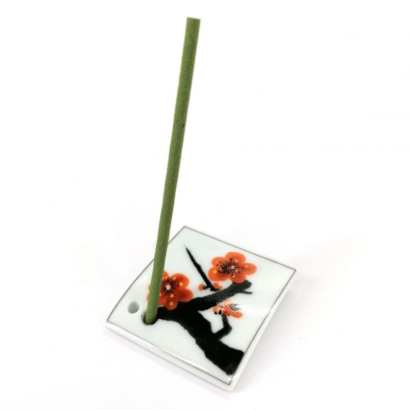 Japanese porcelain incense holder - UMEMI - Plum Blossoms