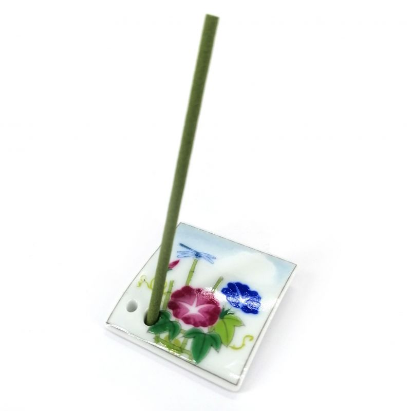 Japanese porcelain incense holder - TANABATA - Morning Glory