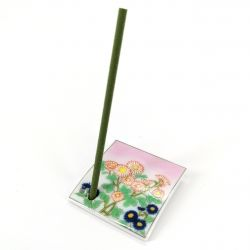 Japanese porcelain incense holder - SHIGURE - Small Chrysanthemums