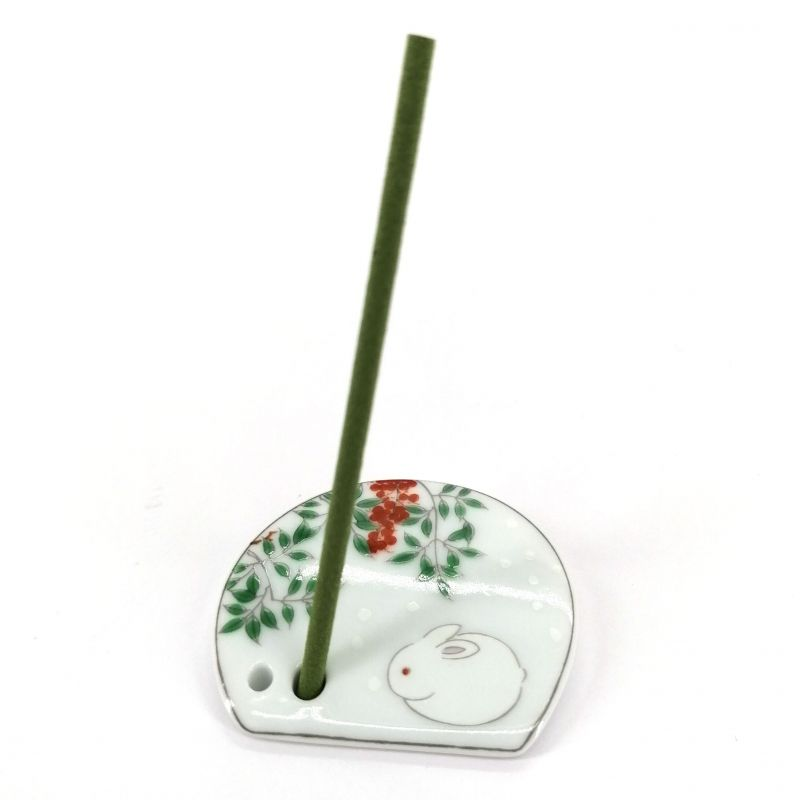 Japanese porcelain incense holder - HARUMACHI - White Rabbit