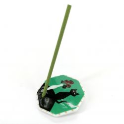 Japanese porcelain incense holder - HANATONEKO - The cat and the rose