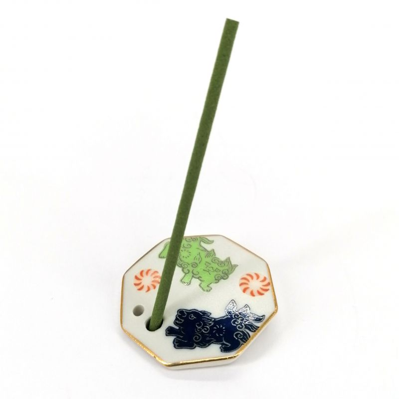Japanese porcelain incense holder - SOUJISHI - Lion Dance