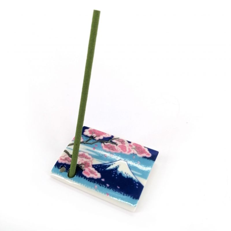 Japanese porcelain incense holder - FUJITOSAKURA - Fuji and Cherry