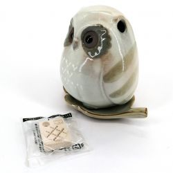 Small Japanese incense holder for stick and cone - FUKURO - Owl
