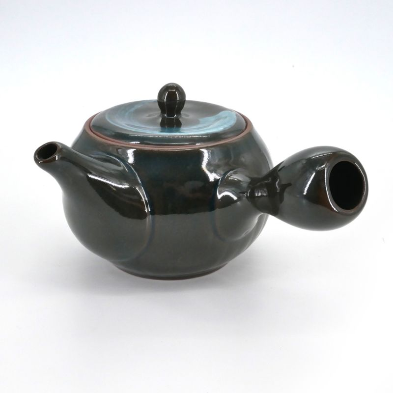 Japanese round ceramic teapot, AO HAKEME 32cl, black and blue
