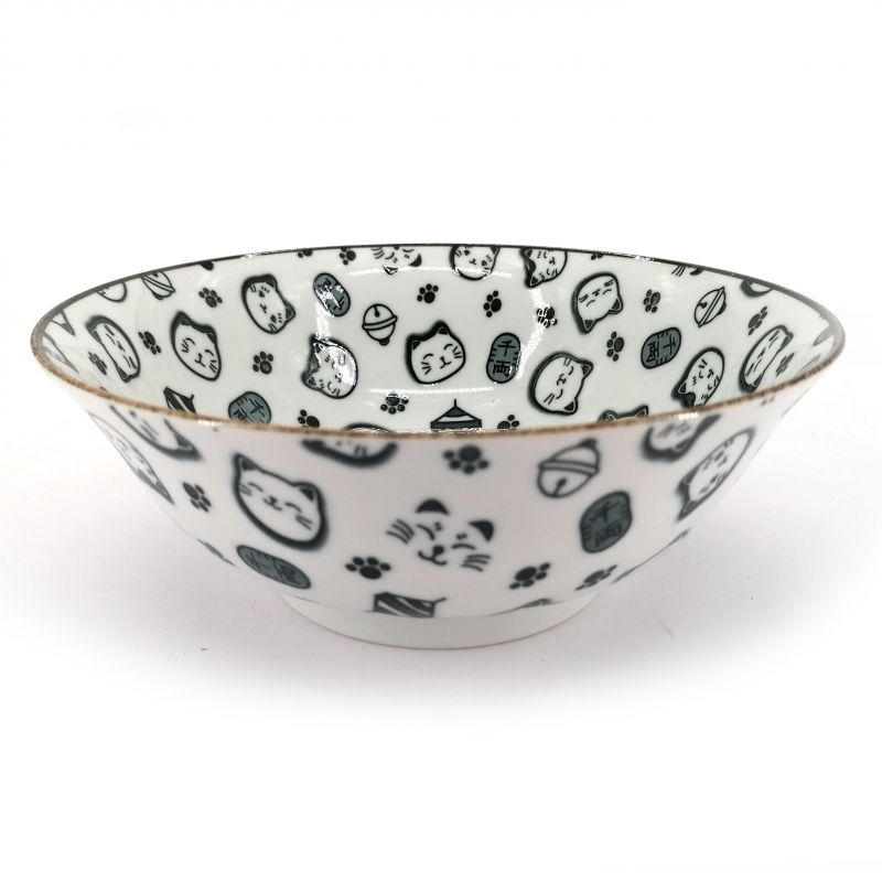 Black kawaii lucky cat ceramic Japanese ramen bowl - LUCKY CAT