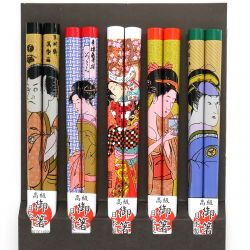 set of 5 pairs of Japanese chopsticks, UKIYO E, multicolored
