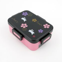 Japanese lunch box, SAKURA, pink and black