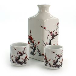 sake service 1 bottle and 2 cups, FURUKI UME, plum blossoms